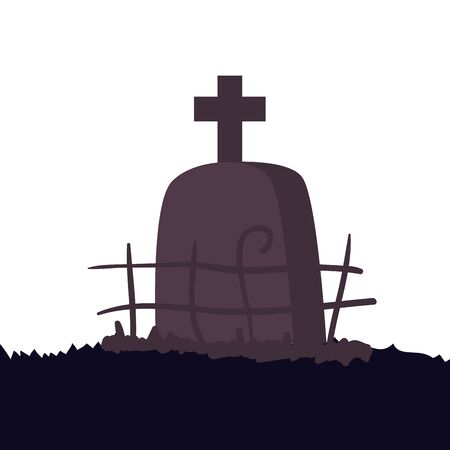 halloween tomb of cemetery isolated icon vector illustration design