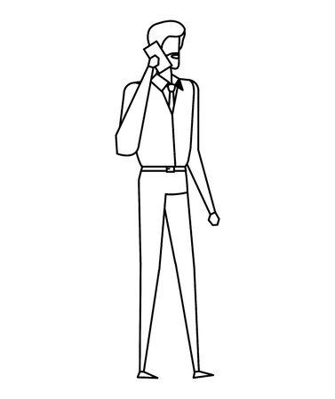 elegant young businessman using smartphone vector illustration design Ilustracja