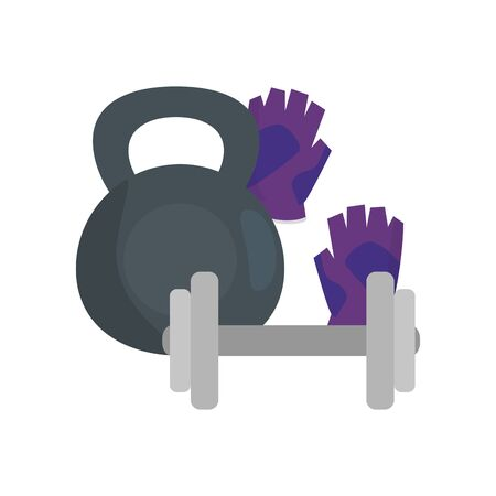 set of dumbbells with fingerless gloves isolated icon vector illustration design