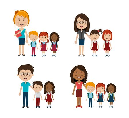 group of little students with teachers vector illustration design
