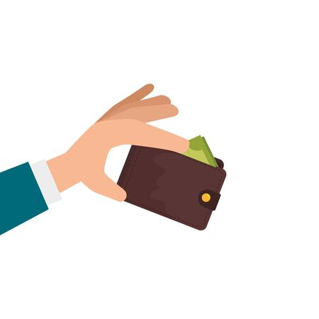 hands with wallet accessory isolated icon vector illustration design