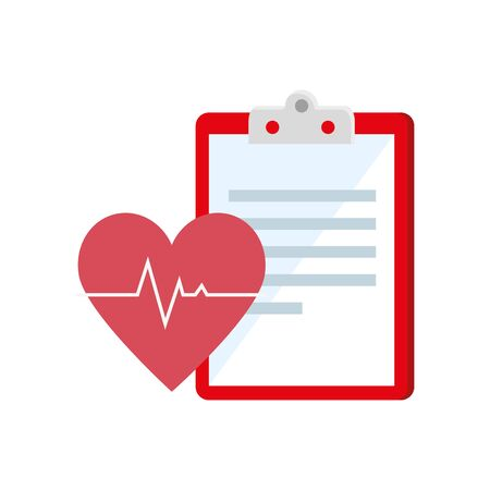 heart rate and clipboard with paper document vector illustration design