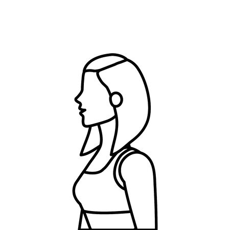 young woman athlete line style icon vector illustration design