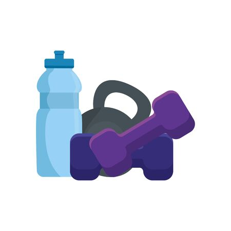 set of dumbbell equipment gym with bottle water vector illustration design