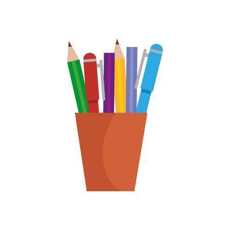 pencils holder office device icon vector illustration design