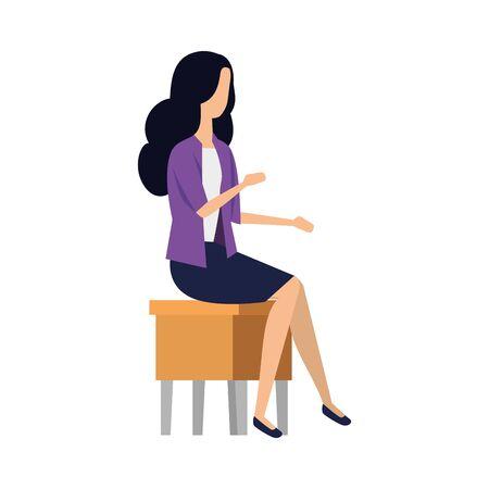elegant businesswoman seated in chair vector illustration design