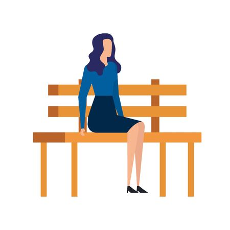 elegant businesswoman seated in the park chair vector illustration design