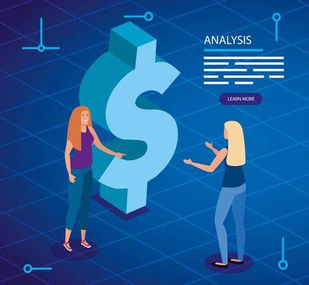 analysis data with women and dollar symbol vector illustration design