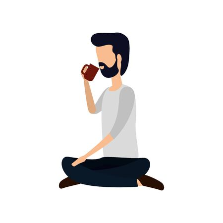 businessman seated in lotus position drinking coffee vector illustration design