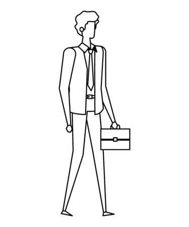 elegant young businessman with portfolio vector illustration design