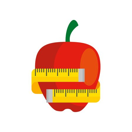 fresh apple fruit with measuring tape isolated icon vector illustration design