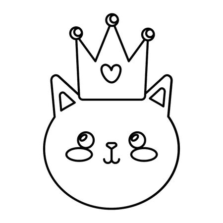 face of cute cat with crown isolated icon vector illustration design