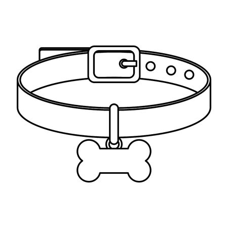 collar for dog with bone isolated icon vector illustration design 向量圖像