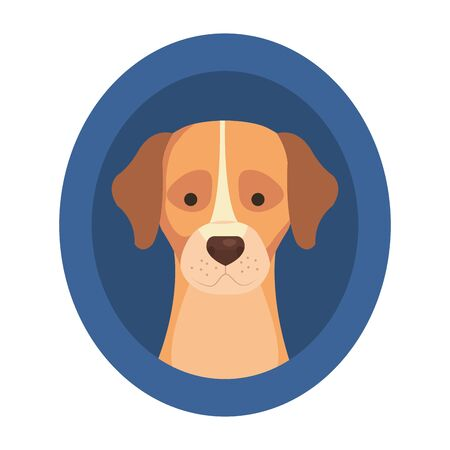 head of cute dog in frame circular isolated icon vector illustration design