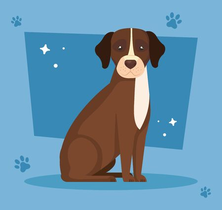 brown dog with white spot in background with pawprints vector illustration design 向量圖像