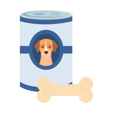food for dog in can with bone toy vector illustration design