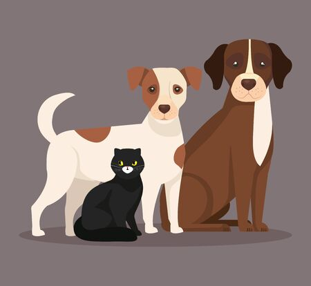 cute dogs with cat black vector illustration design 向量圖像