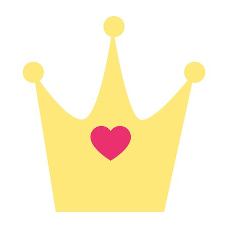 cute crown with heart isolated icon vector illustration design 向量圖像
