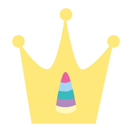 cute crown with horn of unicorn vector illustration design
