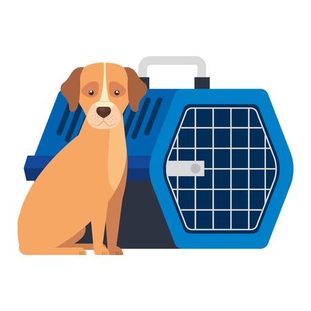 cute dog animal with pet carry box vector illustration design