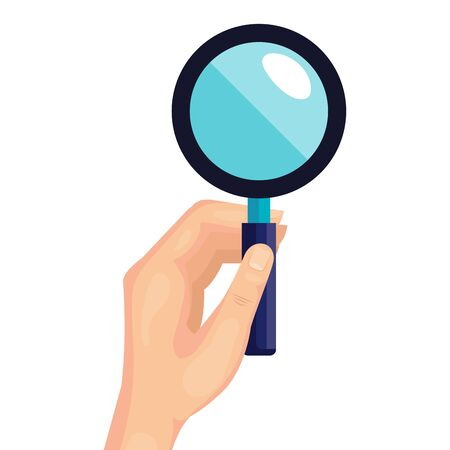 hand with magnifying glass instrument isolated icon vector illustration design Ilustracja