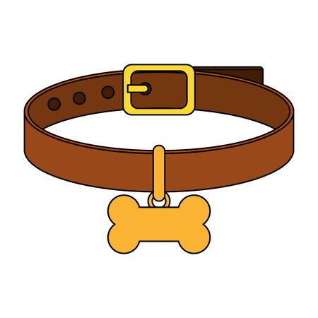 collar for dog with bone isolated icon vector illustration design 일러스트