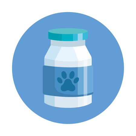 bottle dog medicine in frame circular isolated icon vector illustration design