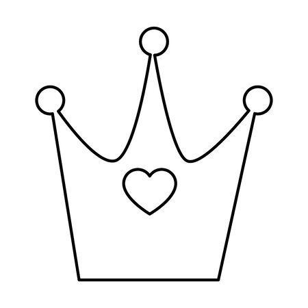 cute crown with heart line style icon vector illustration design