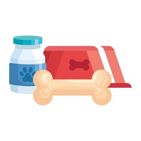 dish for pet with bottle dog medicine and bone toy vector illustration design Ilustración de vector