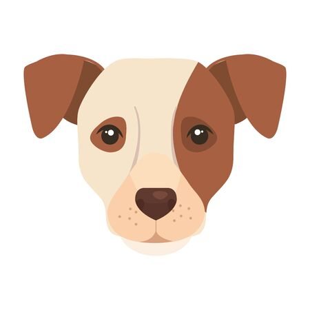 face of white dog with brown spot vector illustration design 向量圖像