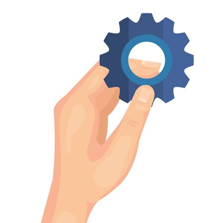 hand with gear pinion machine isolated icon vector illustration design 矢量图像