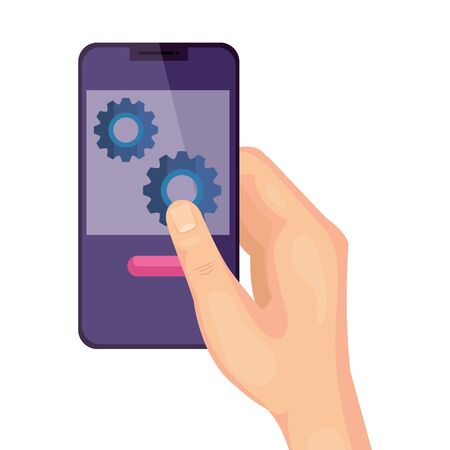 hand using smartphone and gears isolated icon vector illustration design