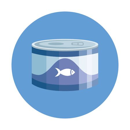 food for fish in can with frame circular vector illustration design