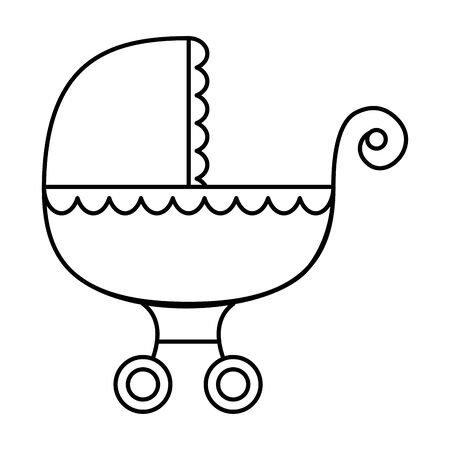 baby cart transportation line style icon vector illustration design