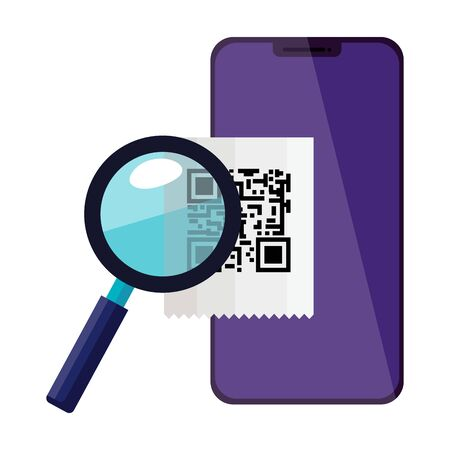 smartphone with scan code qr and magnifying glass vector illustration design