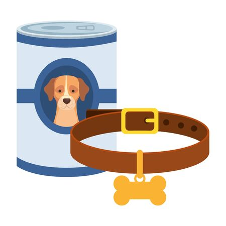 food for dog in can with collar isolated icon vector illustration design