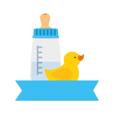 baby bottle milk with duck rubber isolated icon vector illustration design