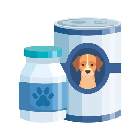 food and bottle medicine for dog isolated icon vector illustration design