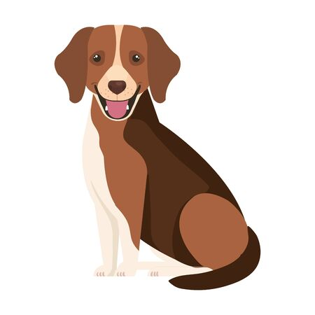 brown dog with white spot isolated icon vector illustration design