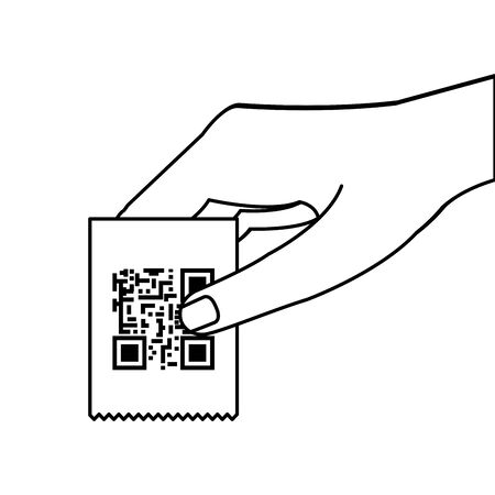 hand and voucher with code qr vector illustration design Ilustrace