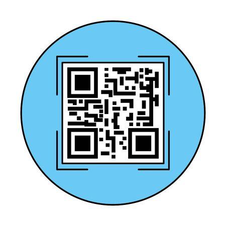 classic qr code in frame circular vector illustration design Reklamní fotografie - 140640341