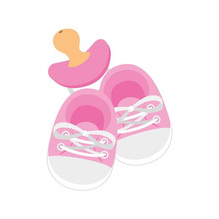 cute shoes baby with pacifier isolated icon vector illustration design