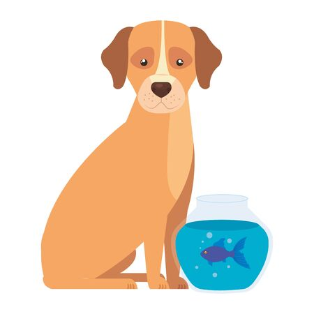 cute dog with round glass fish bowl isolated icon vector illustration design 向量圖像