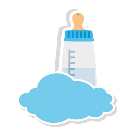 baby bottle milk in cloud isolated icon vector illustration design Ilustrace