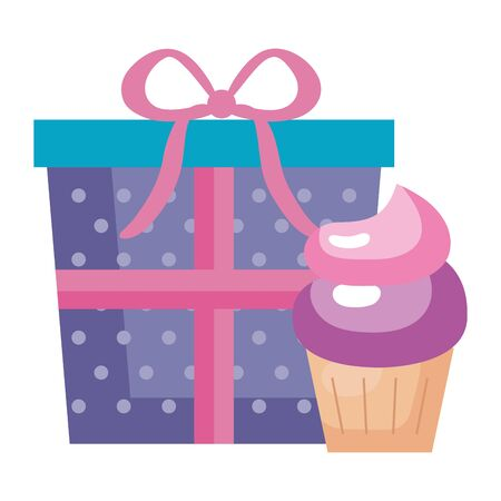 gift box present with cupcake isolated icon vector illustration design