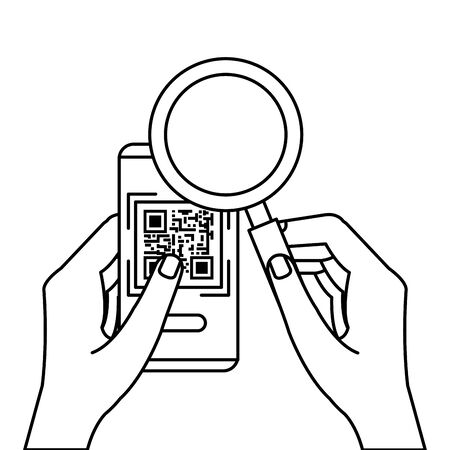hands using smartphone with scan code qr and magnifying glass vector illustration design