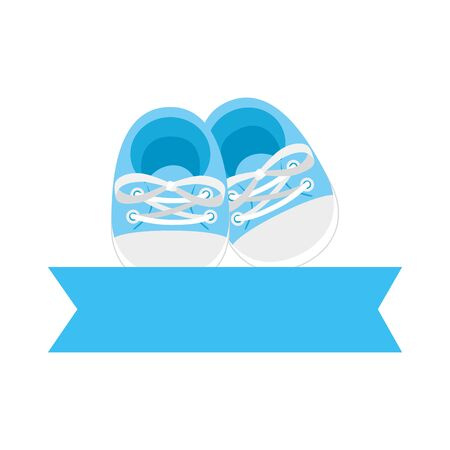 cute shoes baby with ribbon isolated icon vector illustration design Ilustração