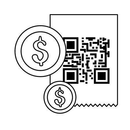 classic qr code with coins isolated icon vector illustration design Ilustrace