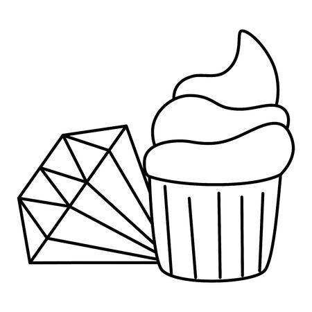 cute diamond jewelry with cupcake line style icon vector illustration design Ilustración de vector