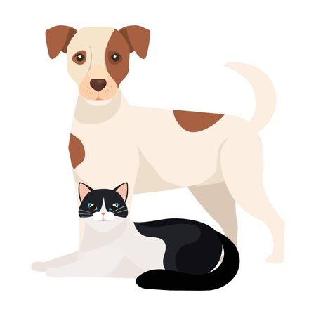 cute dog with cat black and white vector illustration design 向量圖像